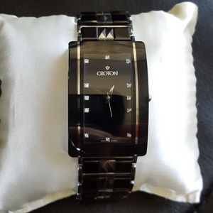 Croton Diamonds & Tungsten Ceramic Watch